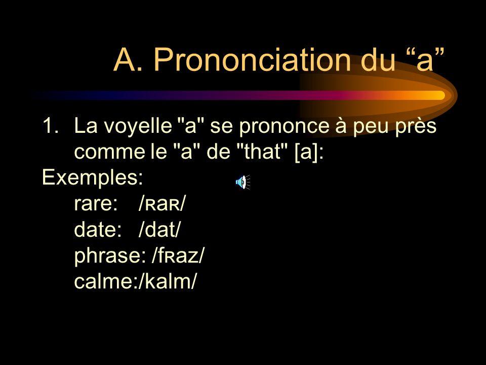 A. Prononciation du a La voyelle a se prononce à peu près comme le a de that [a]: Exemples: rare: /ʀaʀ/